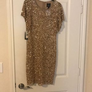 Adrianna papell dress size 2 NWT champagne gold